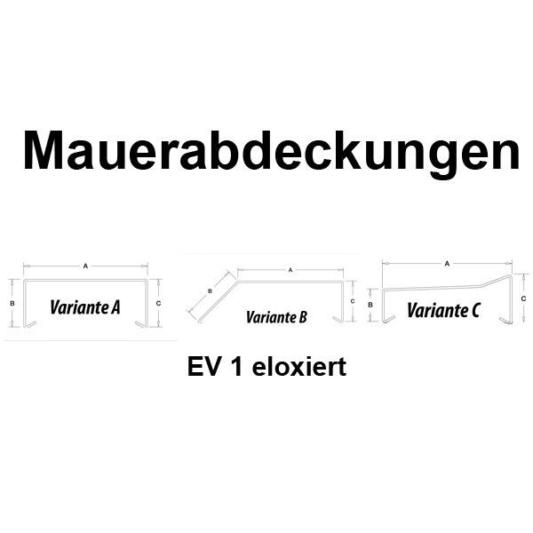 Mauerabdeckung / Attika Breite 100 mm EV 1