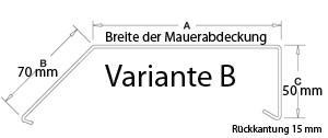 Mauerabdeckung / Attika Breite 160 mm blank Variante B